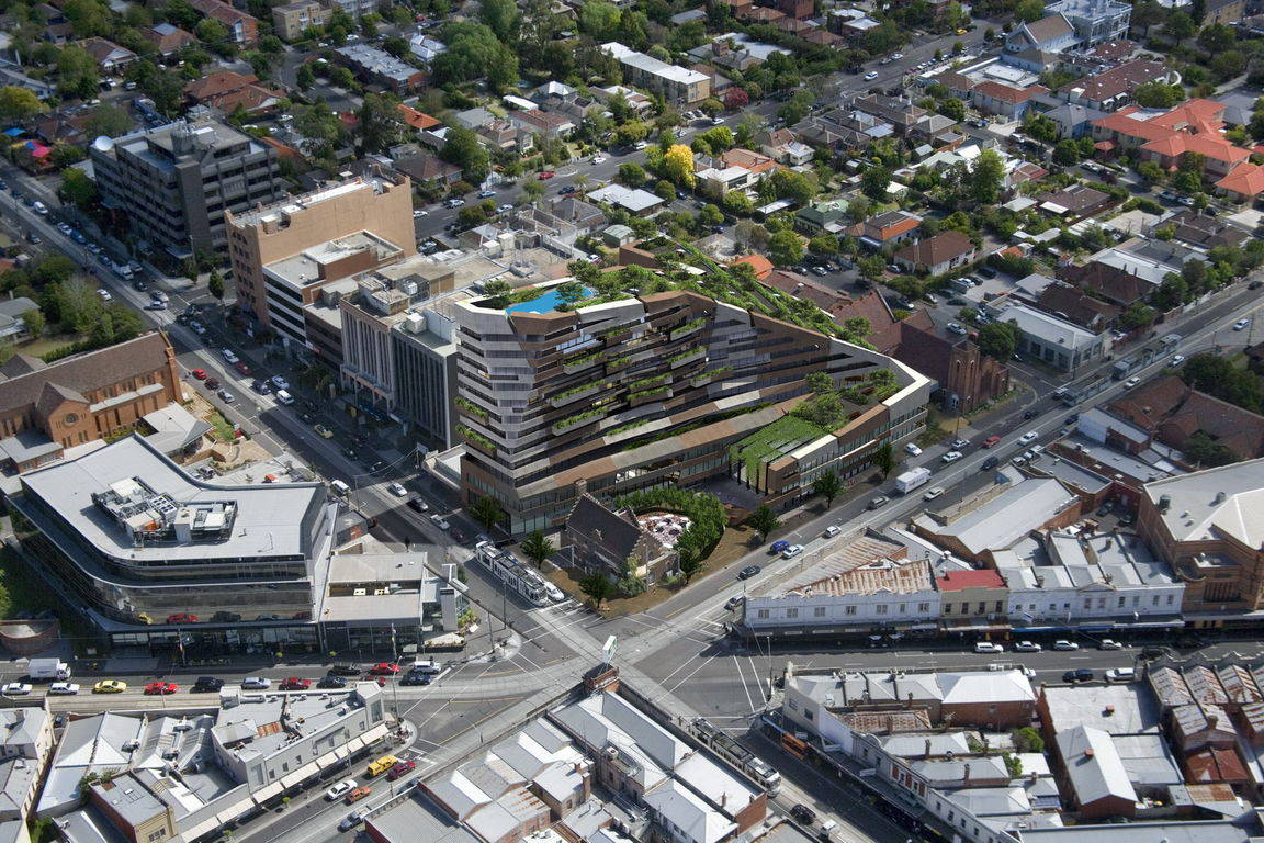 Aerial shot of Camberwell Junction