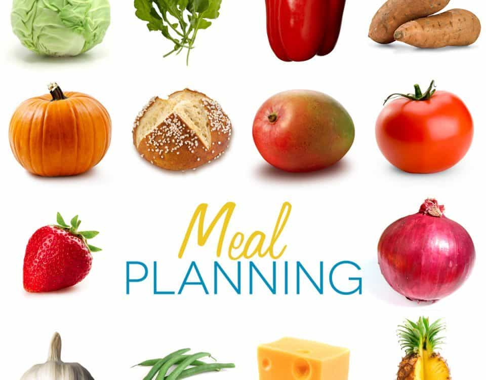 Meal planning text with pictures of foods