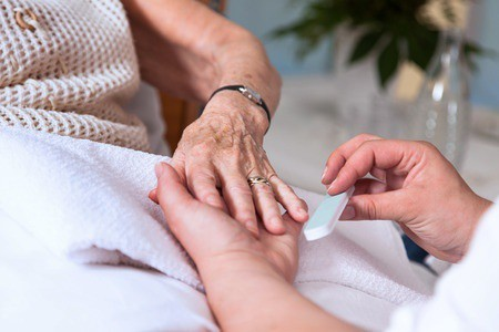 Caring for your elderly loved one's hands and feet - manicure hands
