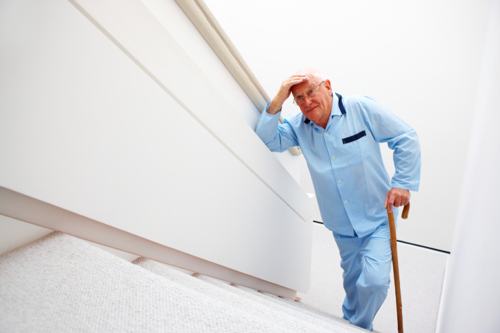 Safety Tips for the Elderly at Home - walking up stairs